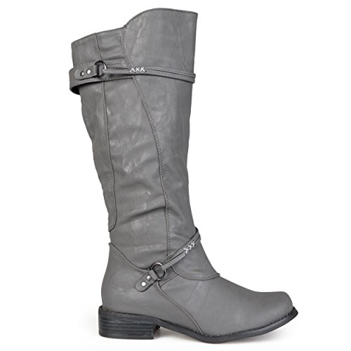 Brinley Co. Womens Regular, Wide Calf and Extra Wide Calf Tall Buckle Riding Boots Grey 11