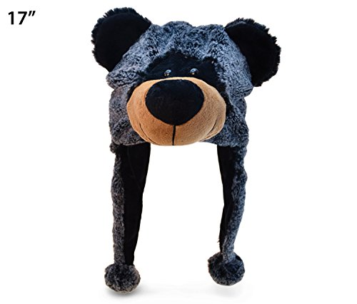 Puzzled Black Bear Child's Super Soft Plush Hat - 1