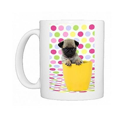 Photo Mug Of Jd-21149 Dog. Pug Puppy ( 6 Wks Old ) In A Yellow Pot From Ardea Wildlife Pets front-893608
