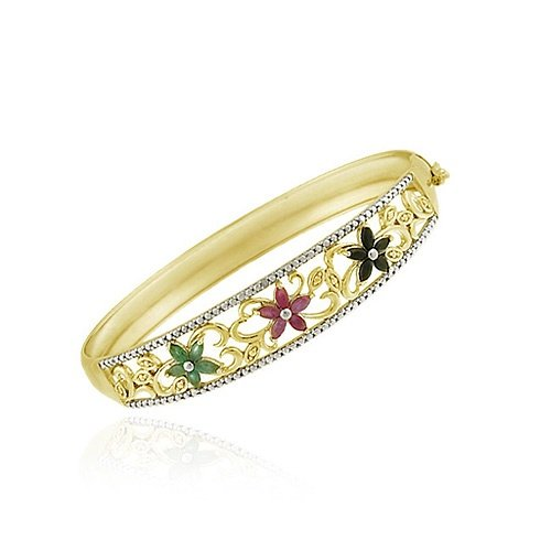18K Gold over Sterling Silver Ruby, Sapphire, Emerald & Diamond Accent Flower Bangle Bracelet