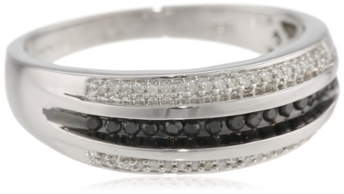 Men's Sterling Silver Black and White Diamond Ring (1/2 cttw, I-J Color, I2-I3 Clarity), Size 10
