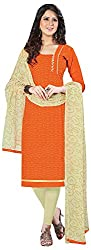 Go Traditional Women's Cotton Unstitched Dress Material (Orange)