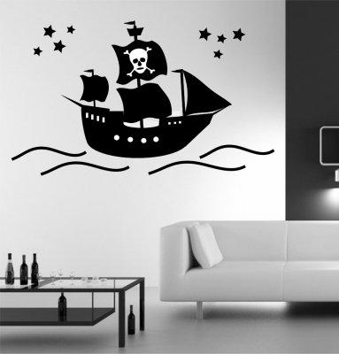 Kinder Wandtattoo Piratenschiff Pirat Kinderzimmer Wandaufkleber Schiff Groesse – 120x70cm jetzt kaufen