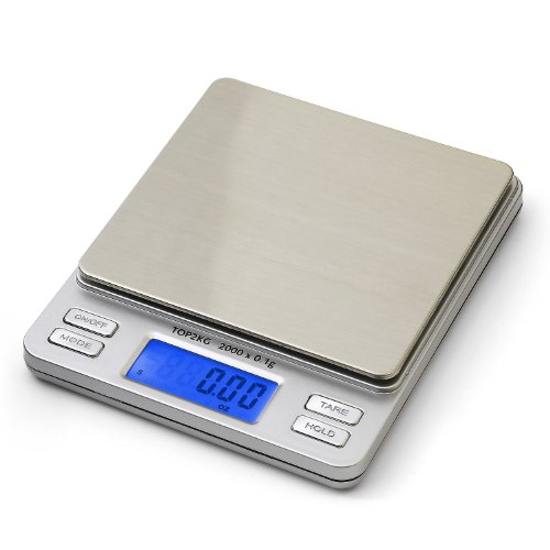 Smart Weigh Digital Pro Pocket Scale with Back-Lit LCD Display, Tare, Hold and PCS Features 2000 x 0.1g Capacity (2 Lids Included)