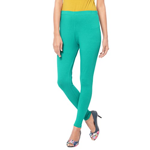 Cherry Turquoise Plain Ankle Leggings for Women