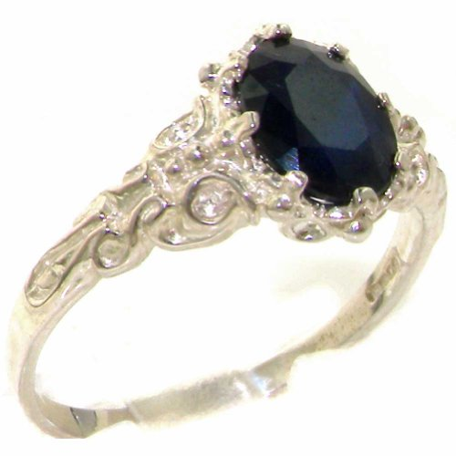 Luxurious Solid Sterling Silver Natural Sapphire Women's Solitaire Ring