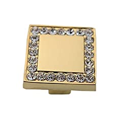 Set of 3 Fabulous Gold Square Crystal Drawer/Cabinet Handles/Pulls/Knobs/2.5*2CM