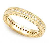 18k Yellow Gold Pave set Diamond Eternity Wedding Band Ring (G-H/SI, 2/5 ct.)