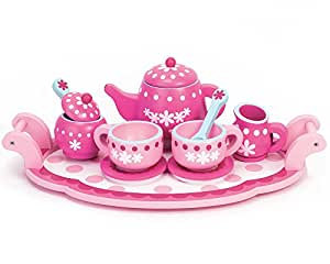Sophia's Childrens Wooden Play Food Set, Tea Set! Wood Play Food Tea Set