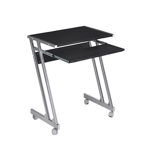 GreenForest Computer Desk Chair Sets Movable Desk Cart with Keyboard Tray and Folding Chair, Black