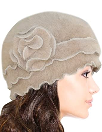 Super Soft Angora Classic Flower Ruffle Laciness Knitted Beanie Cap Hat - Camel