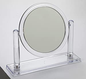 Free Standing Round Mirror 5x Magnification Ideal Mirror For The Bathroom Bedroom