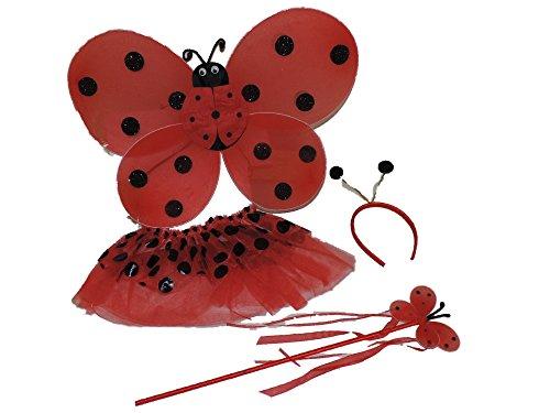 Ladybug 4 pc Set, Wings/Antenna-Headband/Tutu/Wand