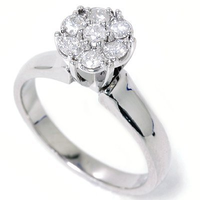 Pompeii3 Inc. 1/2CT Pave Genuine Diamond Solitaire Cluster Engagement Cathedral Ring 14K (4-9) - 5