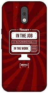 The Racoon Red Job Work hard plastic printed back Case for Motorola Moto G 4th Gen