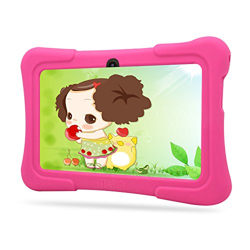 Dragon Touch Kids Tablet 7'' Quad Core, WiFi, Games, 8GB, HD Edition, Bundle w/ Pink Silicone Case