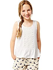Pure Cotton Lace Peplum Vest Top