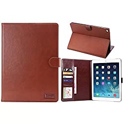 Ipad Air 2 Case Borch Fashion Luxury Multi-function Protective Crazy-horse Leather Series Light-weight Folding Flip Smart Case Cover for Apple Ipad Air 2 Case (Crazy-horse Dark Brown)