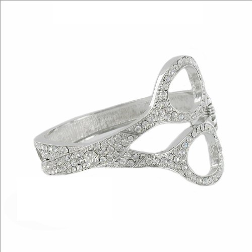 JOA Scissors Design W Crystal Hinged Bracelet #034085