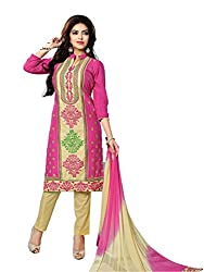 RK Fashion Womens Cotton Un-Stitched Salwar Suit Dupatta Material ( YOGESH-YCM-MUSKAN-1014-Pink-Free Size)
