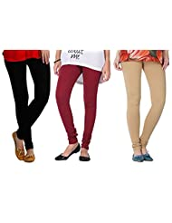 2Day Women's Cotton Black/Maroon/Beige Churidaar Legging (Pack Of 3)
