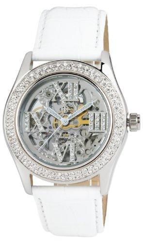 Burgmeister Ravenna Ladies Automatic Skeleton Watch BM140-106 With Swarovski Crystals And White Leather Strap