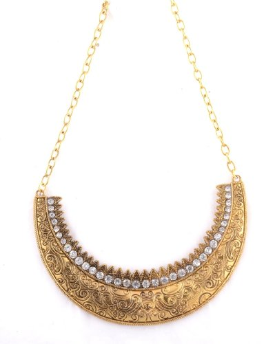 361 Degrees Half Moon Choker Gold Statement Choker Necklace (yellow)