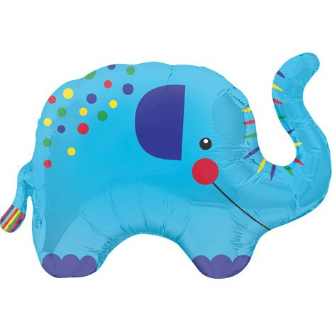 "Elephant With Colorful Dots Blue 36"" Mylar Foil Balloon"