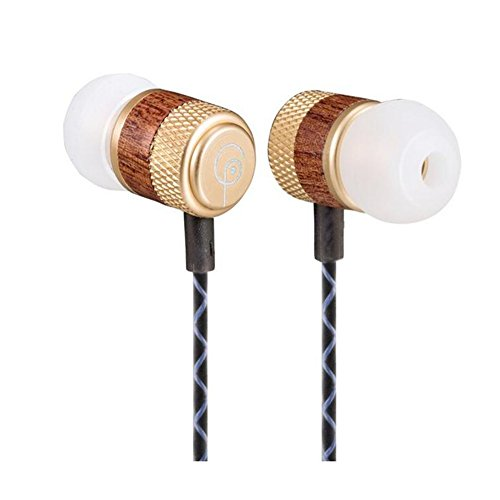 Yatuosina XF1401 Wood l and Bass Meta Noise Isolating Earphones Ear Headset with Microphone (Gloden)