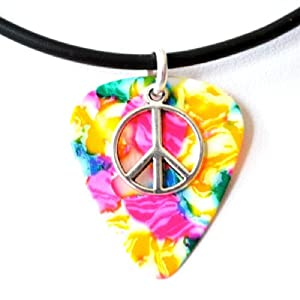 Guitar Pick Necklace Peace Symbol on Rainbow Pick Unique Design By Atlantic Seaboard Trading Co.