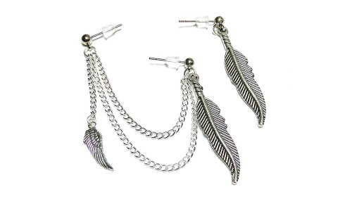 Wing and Feathers Double Cartilage Chain Earring Handmade