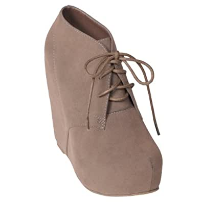 Hailey Jeans Co Womens Lace-up Wedge Bootie