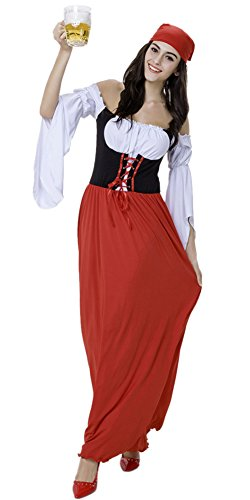 JinYe Women's Germany Oktoberfest Maid Costume Party Show Dance Dress Outfit