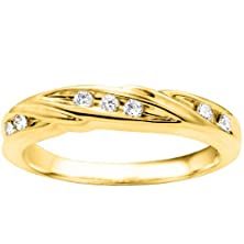 buy Promise Ring Set With Cubic Zirconia Mounted In 10K Yellow Gold (0.16 Ct. Twt.)
