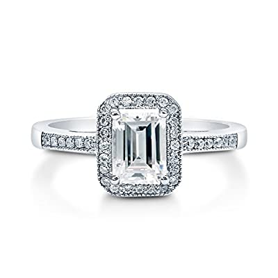 BERRICLE 925 Sterling Silver Emerald Cut Cubic Zirconia CZ Halo Women Engagement Wedding Bridal Ring