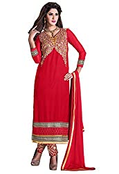 Manvaa Susquehanna Red Georgette Embroidered Dress Material-KMR6103