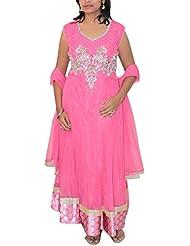 Dream Girls Boutique Women's Net Anarkali (Pink, XL)