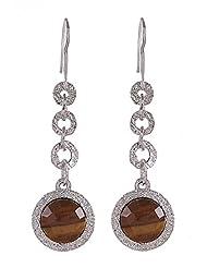 Amethyst By Rahul Popli Clear Silver Dangle & Drop Earrings