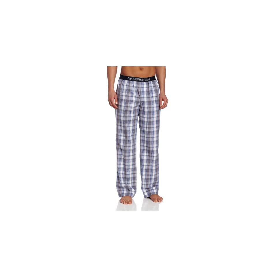 Emporio Armani Mens Woven Mix Cotton Trousers, White/Grey/Blue, Large