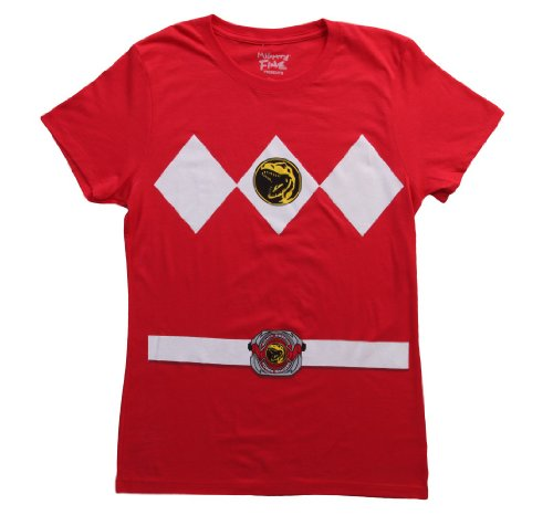 Power Rangers Red Ranger Costume Red Juniors T-Shirt Tee