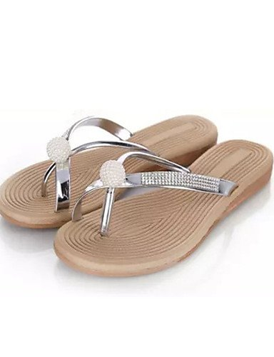 zapatos-de-mujer-tacon-plano-chanclas-pantuflas-exterior-semicuero-plata-silver-us6-eu36-uk4-cn36-si
