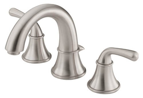 Delta Alux Spotshield Brushed Nickel 2 Handle Widespread: Danze D304056BN Bannockburn Two Handle Widespread Lavatory