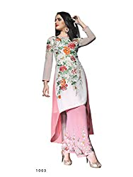 Fab Desire Women's Pink Semi stitched Salwar Suit