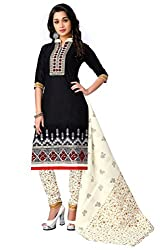 Justkartit Women's Unstitched Black & Cream Colour Embroidered + Printed Churidar Salwar Kameez With Cotton Dupatta / Semi- Formal Work Wear Churidar Salwar Kameez