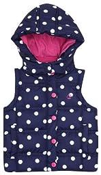 JoJo Maman Bebe Baby Girls\' Puffer Gilet - Navy/Fuchsia Dot - 18-24 Months