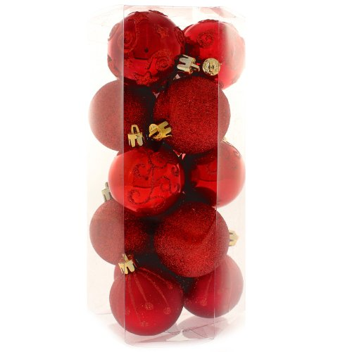 15 Piece Red Deluxe Christmas Tree Bauble Pack