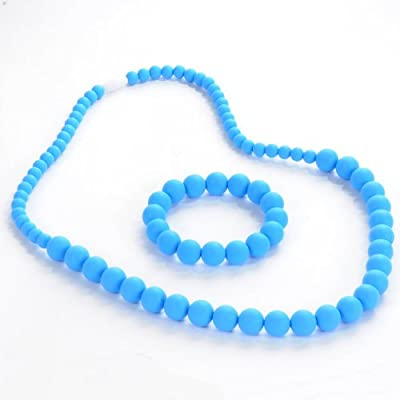 Sassy Baby Beads Mommy and Baby Silicone Chew Beads Necklace Set - Blue by Sassy Baby Beads