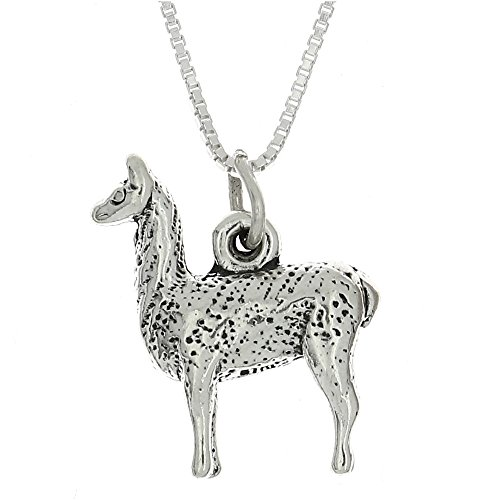 Sterling Silver Oxidized Three Dimensional Llama Charm Pendant with Polished Box Chain Necklace (16 Inches)