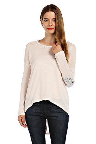Rack29 women 39 s sequin elbow patch detail solid knit hi low for Craft hobbies for women