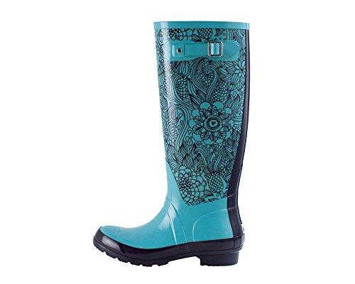 Women's Rubber Rain Boots, Monumenta Pattern (9, Blue Floral) (Rain Boots Blue compare prices)